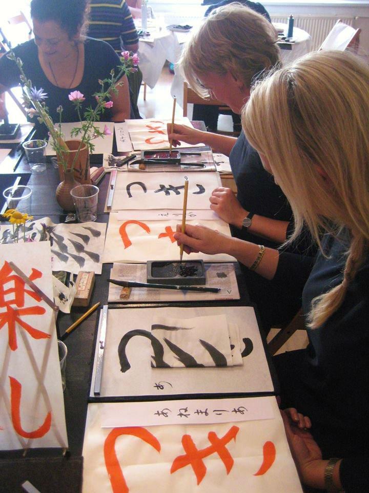 mijn eerste shodo-les - foto van Sachiko Graft