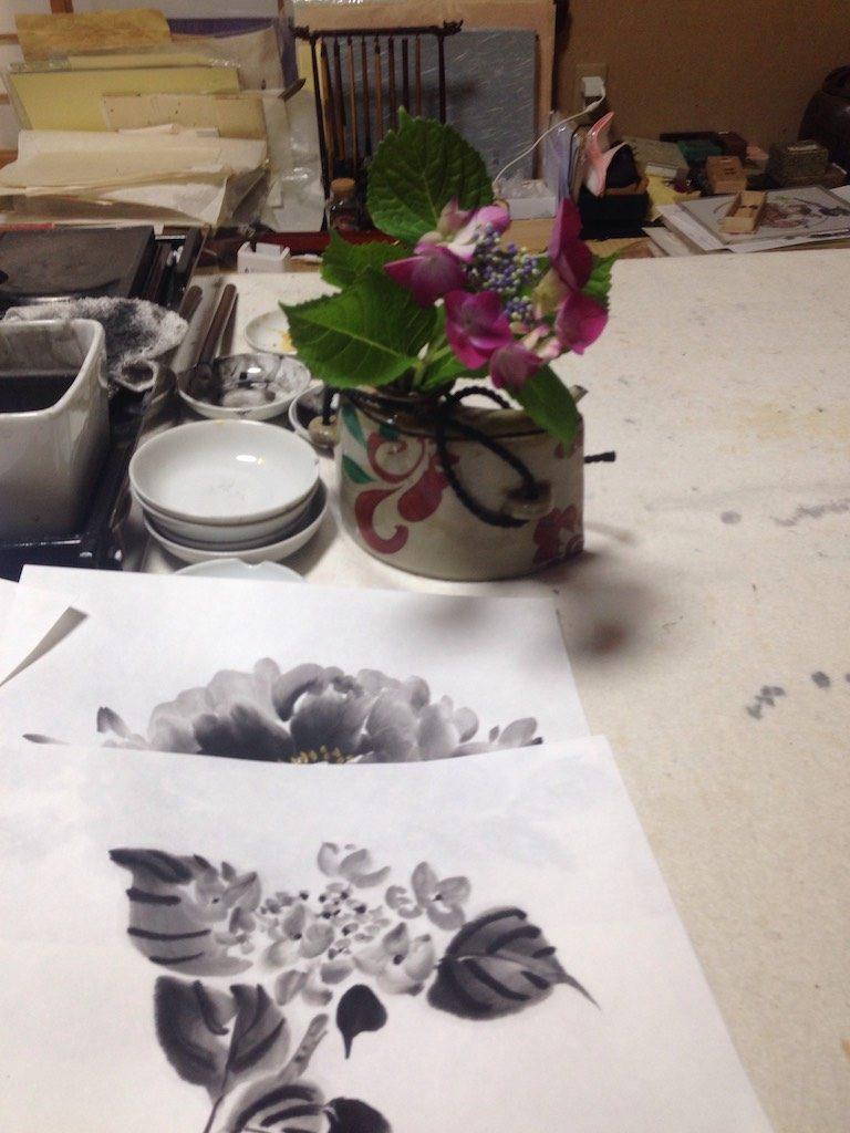 bloemen in sumi-e