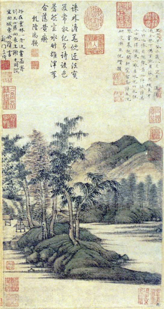 Chinees schilderij met stempels