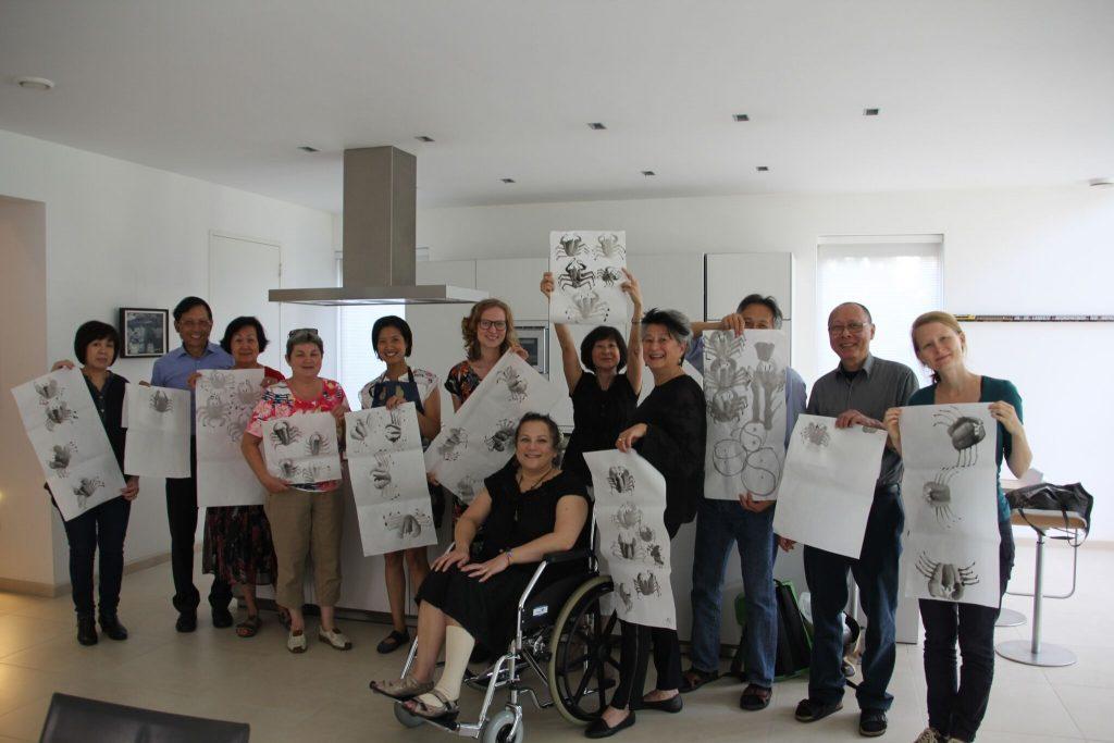 Sumi-e workshop op een neven- en nichtendag