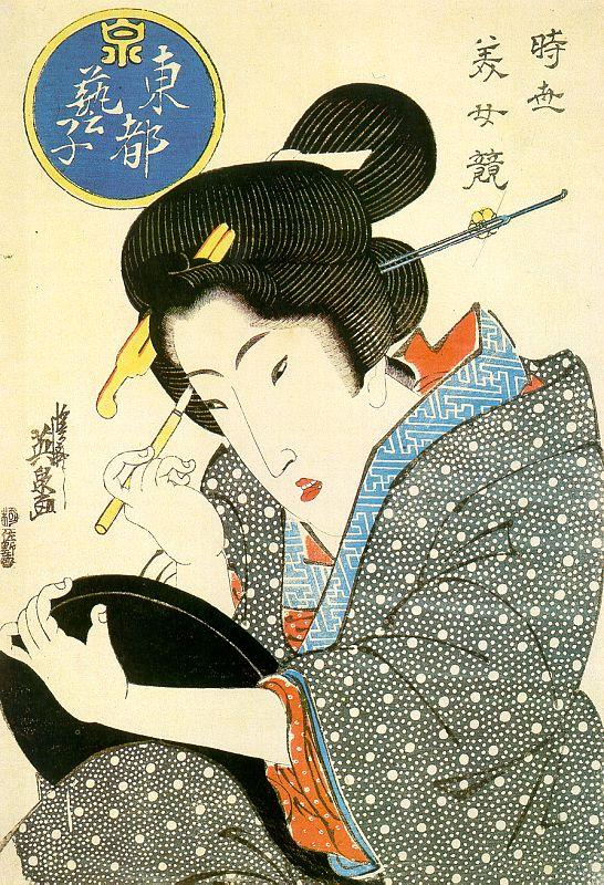 Bijin (mooie vrouw) ukiyo-e van Keisai Eisen