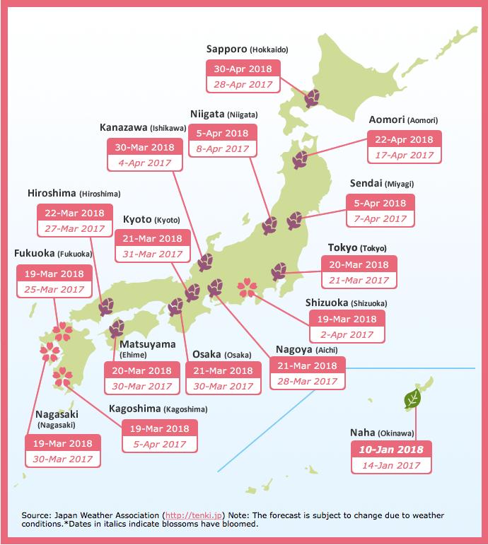 Kersenbloesem voorspelling 2018 - Foto credit: jnto.go.jp