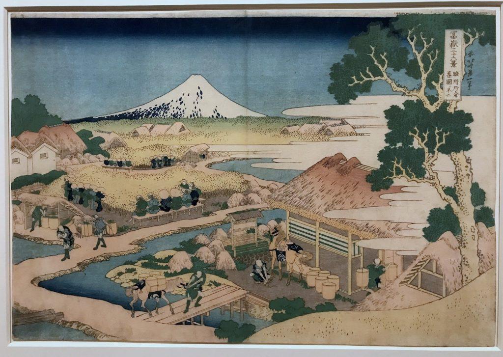 Ukiyo-e van Hokusai - De berg Fuji gezien vanaf de Katakura theeplantage