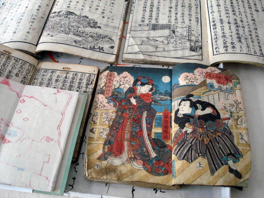 Oude Japanse boeken gedrukt met houtblokken