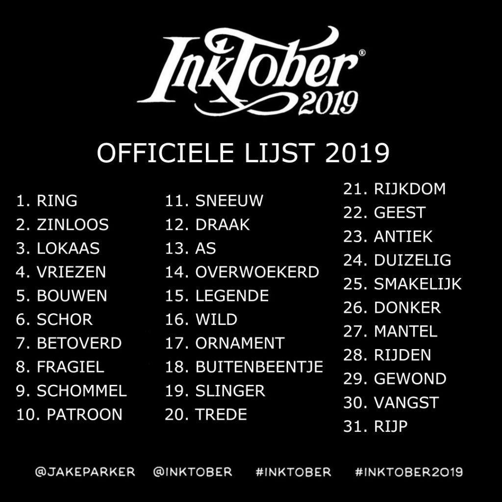 Nederlandse Inktober 2019 lijst