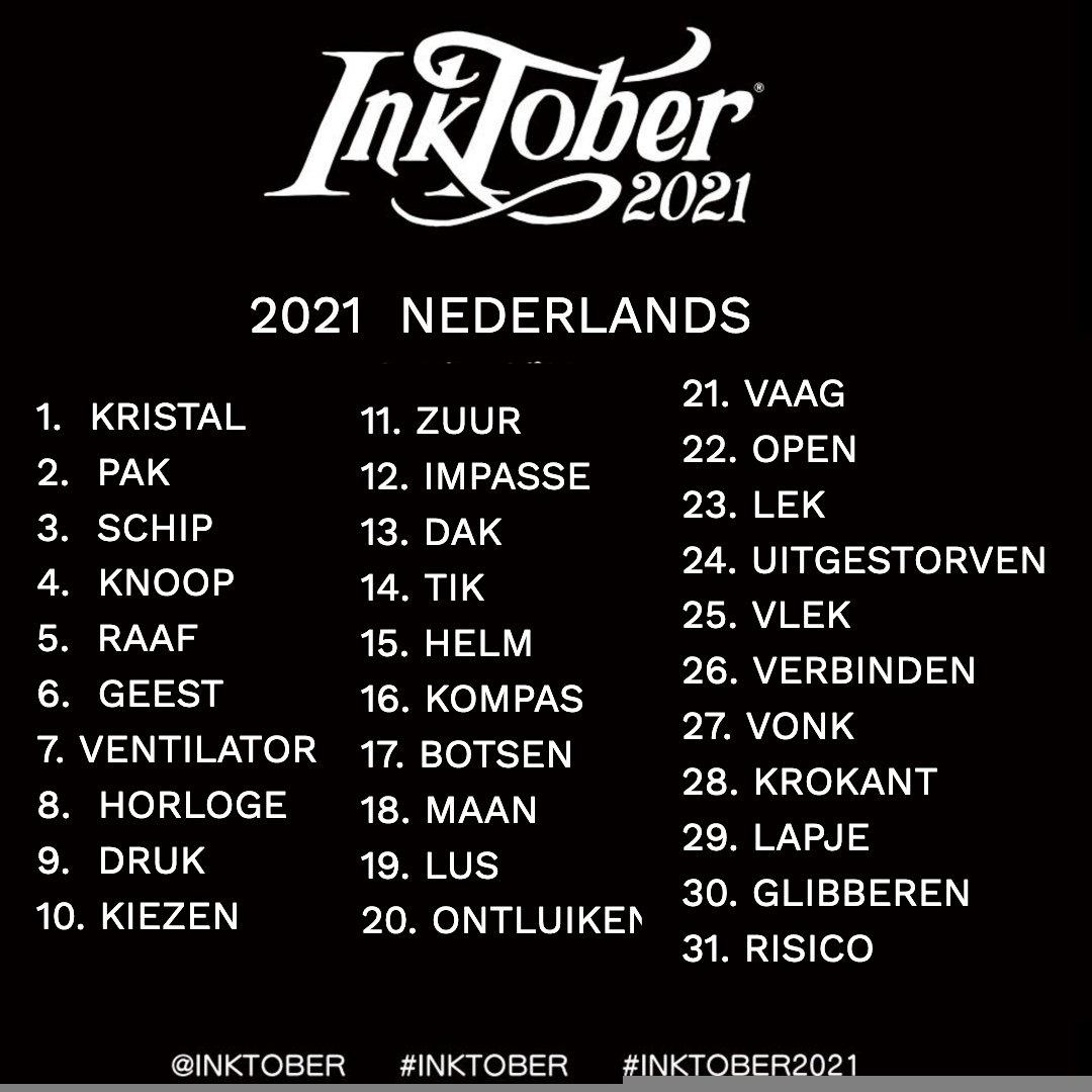 inktober 2021 prompts nederlands