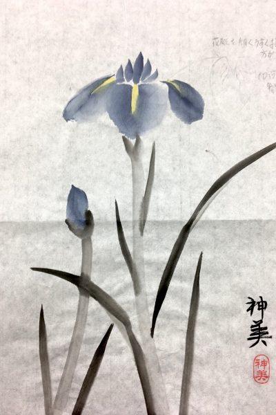 iris in sumi-e stijl